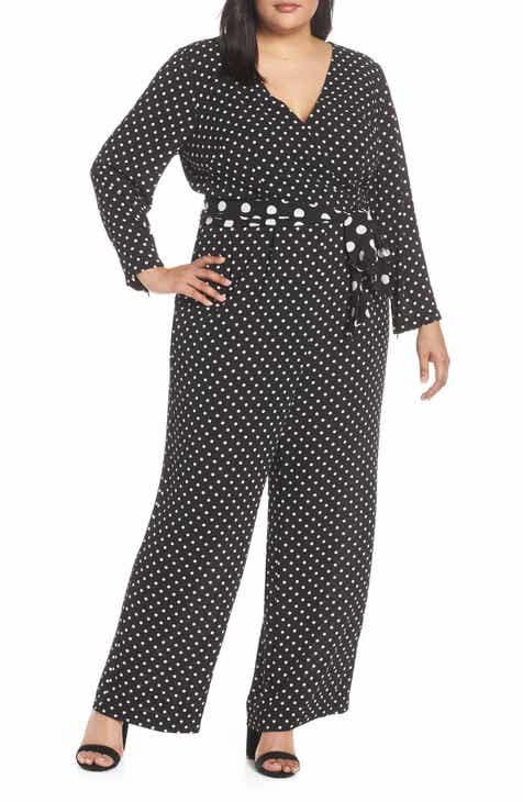 900032cd605e Eliza J Polka Dot Crepe Jumpsuit (Plus Size)