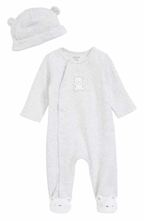 e01174297 Little Me Teddy Bear Footie & Beanie Set (Baby) (Nordstrom Exclusive)