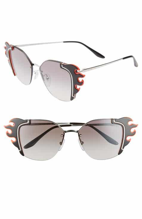 d21ad346aee Prada Flame Catwalk 64mm Oversize Cat Eye Sunglasses