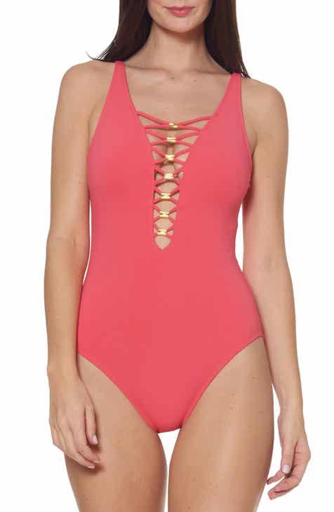 288e8c785c6 BLEU by Rod Beattie Lace Down One-Piece Swimsuit