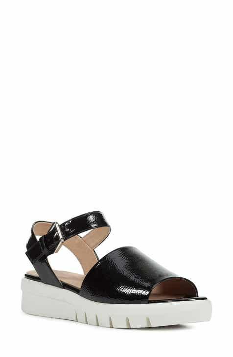 f2798962012 Geox Wimbley Platform Sandal (Women).  149.95. Product Image. BLACK LEATHER   WHITE LEATHER