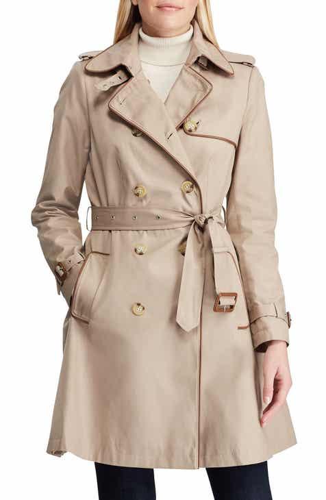 4c4a04670759 Lauren Ralph Lauren Faux Leather Trim Trench Coat (Regular   Petite)