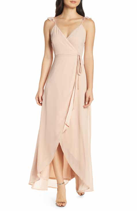 a107745182 Lulus Here s to Us High Low Wrap Evening Dress