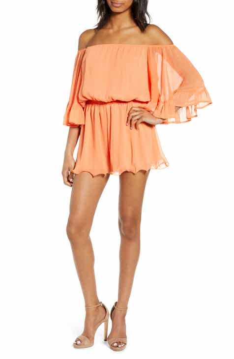 ab42e2b8530 Endless Rose Off the Shoulder Ruffle Sleeve Romper