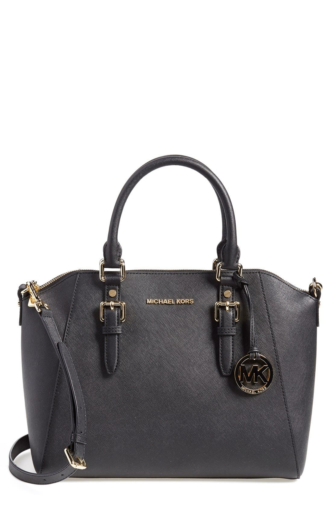Alternate Image 1 Selected - MICHAEL Michael Kors 'Large Bedford' Top Zip Saffiano Leather Satchel