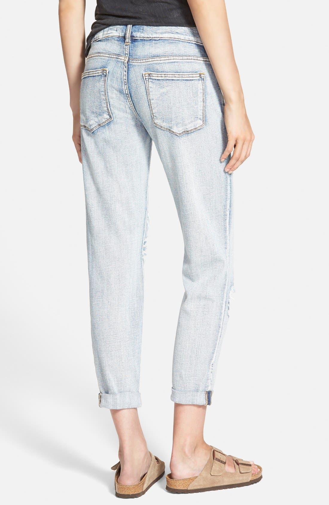 Alternate Image 2  - SP Black Destroyed Boyfriend Jeans (Medium)