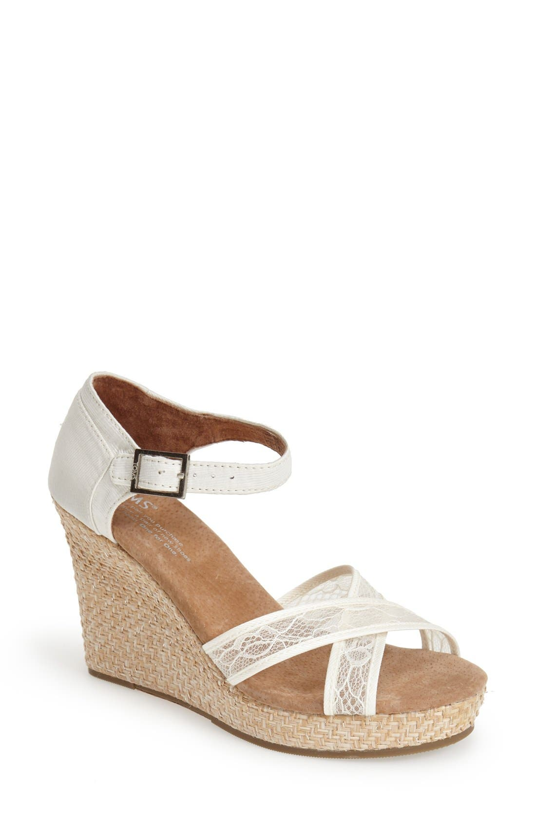 Main Image - TOMS Lace & Grosgrain Ribbon Wedge Wedding Sandal (Women)