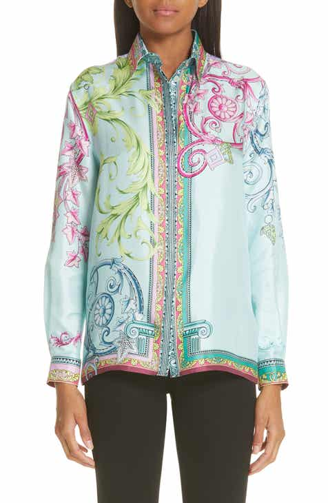 Versace Collection Ferris Wheel Print Silk Blouse 074f54bfb7f