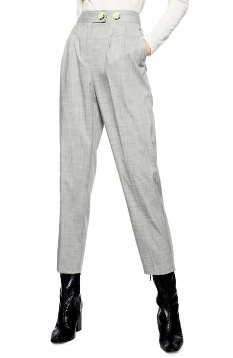 Anne Klein Dot Pattern Tie Waist Wide Leg Crop Cotton Blend Trousers by ANNE KLEIN