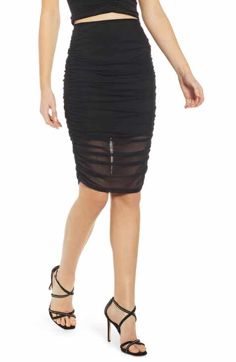 Leith Ruched Mesh Pencil Skirt by LEITH