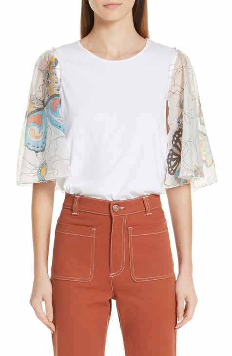 6e16d3e8a6 See by Chloé Butterfly Print Contrast Sleeve Top