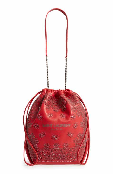 cc4e822c3c48 Saint Laurent Teddy Bandana Studded Leather Bucket Bag