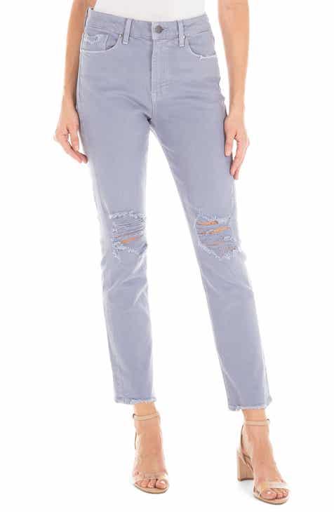 Fidelity Denim Madison Ripped High Waist Straight Leg Jeans (Peri) 842fdffae37