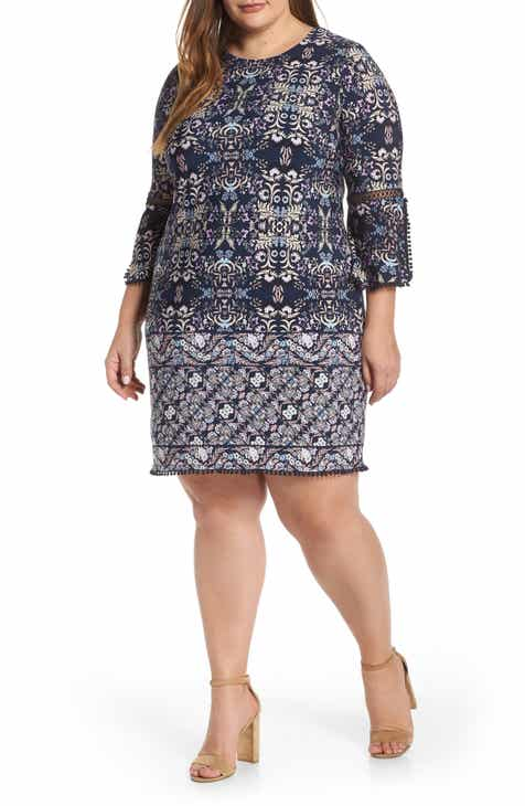 3c09ed4964f Vince Camuto Patterned T-Body Dress (Plus Size)