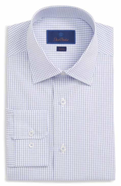 ac3312addb David Donahue Trim Fit Check Dress Shirt