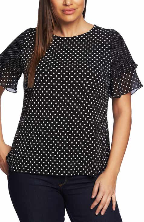 c30ed413be0 CeCe Dot Print Ruffle Sleeve Tee (Plus Size)