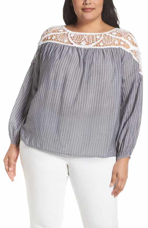 e993c4ce77b STATE Lace Yoke Stripe Blouse (Plus Size)