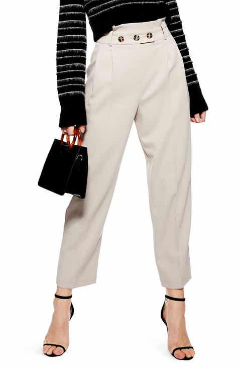 d16492e8b673 Topshop Emilie Paperbag Waist Tapered Trousers (Regular & Petite)