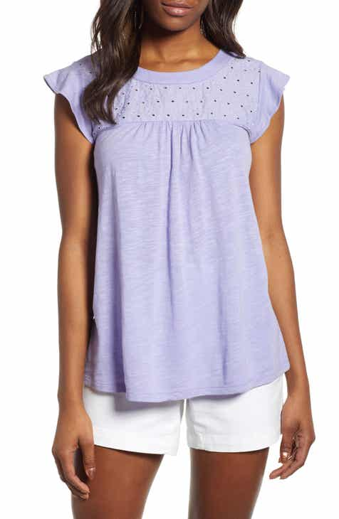 732ec95cf30d1d Caslon® Eyelet Detail Baby Doll Top (Regular, Petite & Plus Size)