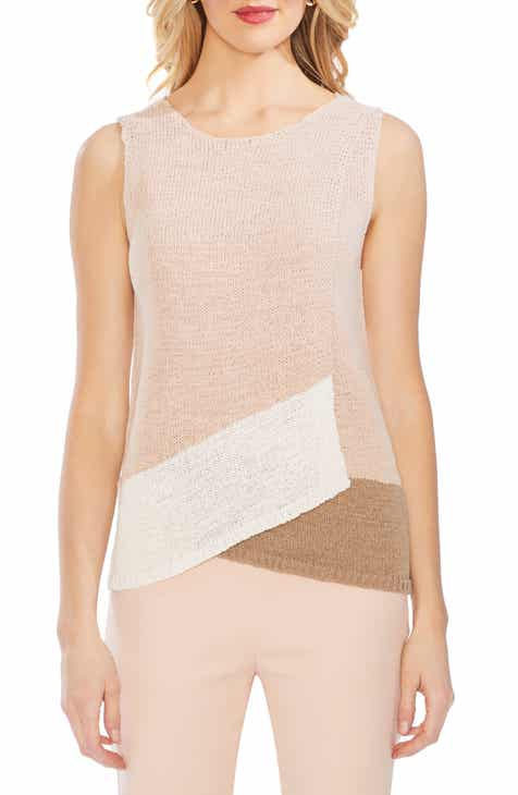 29bd65cbbc3b6 Vince Camuto Colorblock Crossover Detail Sleeveless Cotton Blend Sweater  (Regular   Petite)