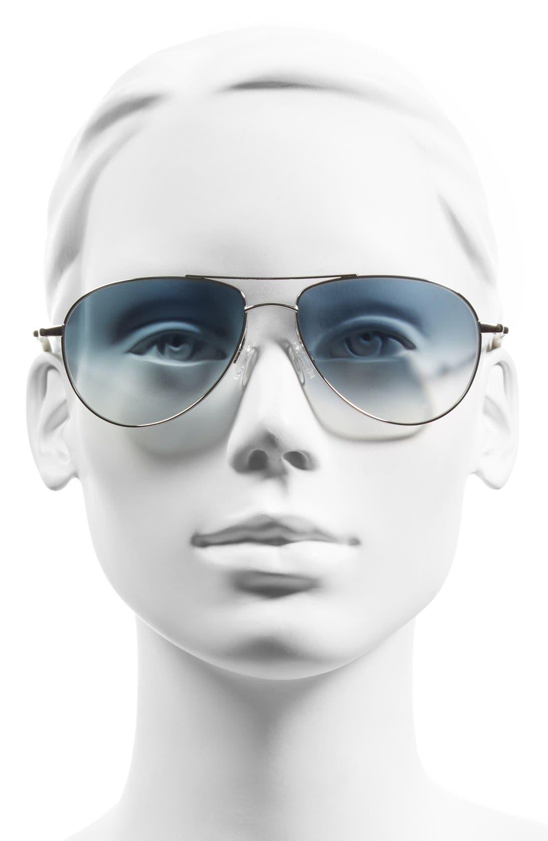 'Benedict' 59mm Gradient Aviator Sunglasses,                             Alternate thumbnail 2, color,                             Silver/ Chrome Sapphire