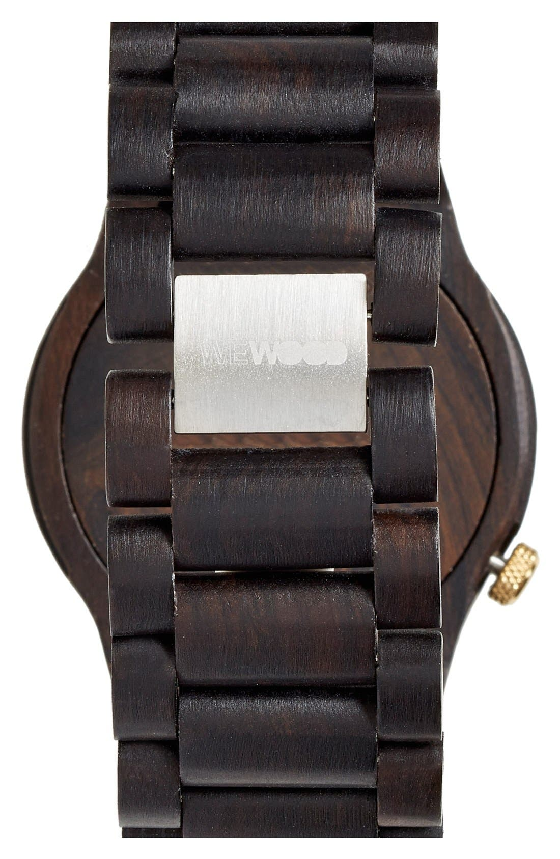 'Alpha' Wood Bracelet Watch, 46mm,                             Alternate thumbnail 2, color,                             Black/ Gold
