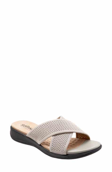 c41f6de2b9d3f SoftWalk®  Tillman  Leather Cross Strap Slide Sandal (Women)