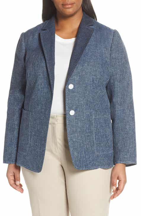 Lafayette 148 New York Vangie Sublime Space Dye Cotton & Linen Jacket (Plus Size) by LAFAYETTE 148