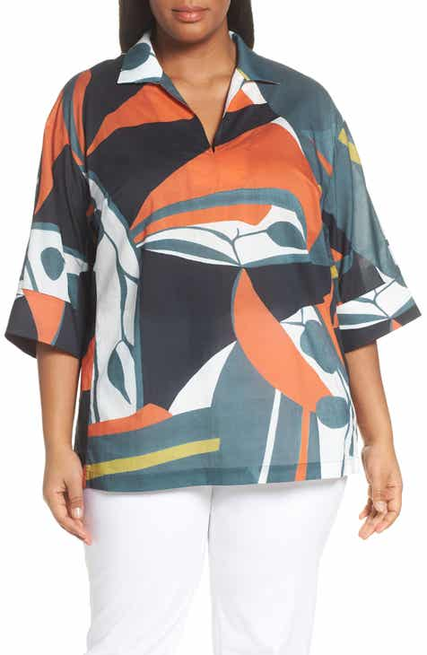 4177ed0d626a78 Lafayette 148 New York Nicole Artisan Abstract Print Top (Plus Size)