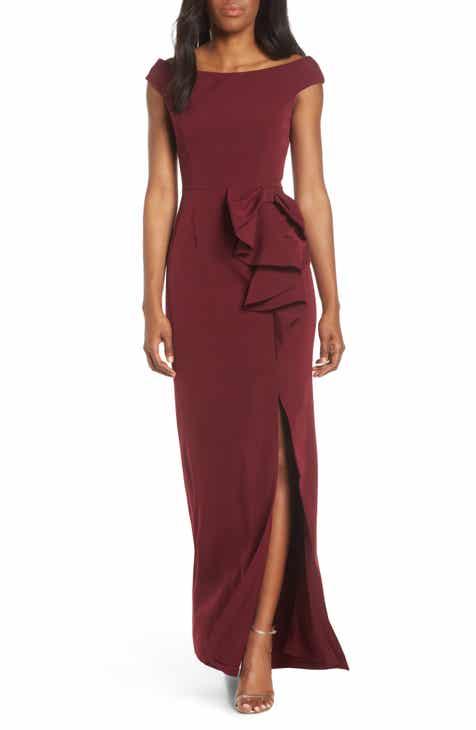 8c6a0b44a0f Vince Camuto Bow Ruffle Scuba Crepe Gown