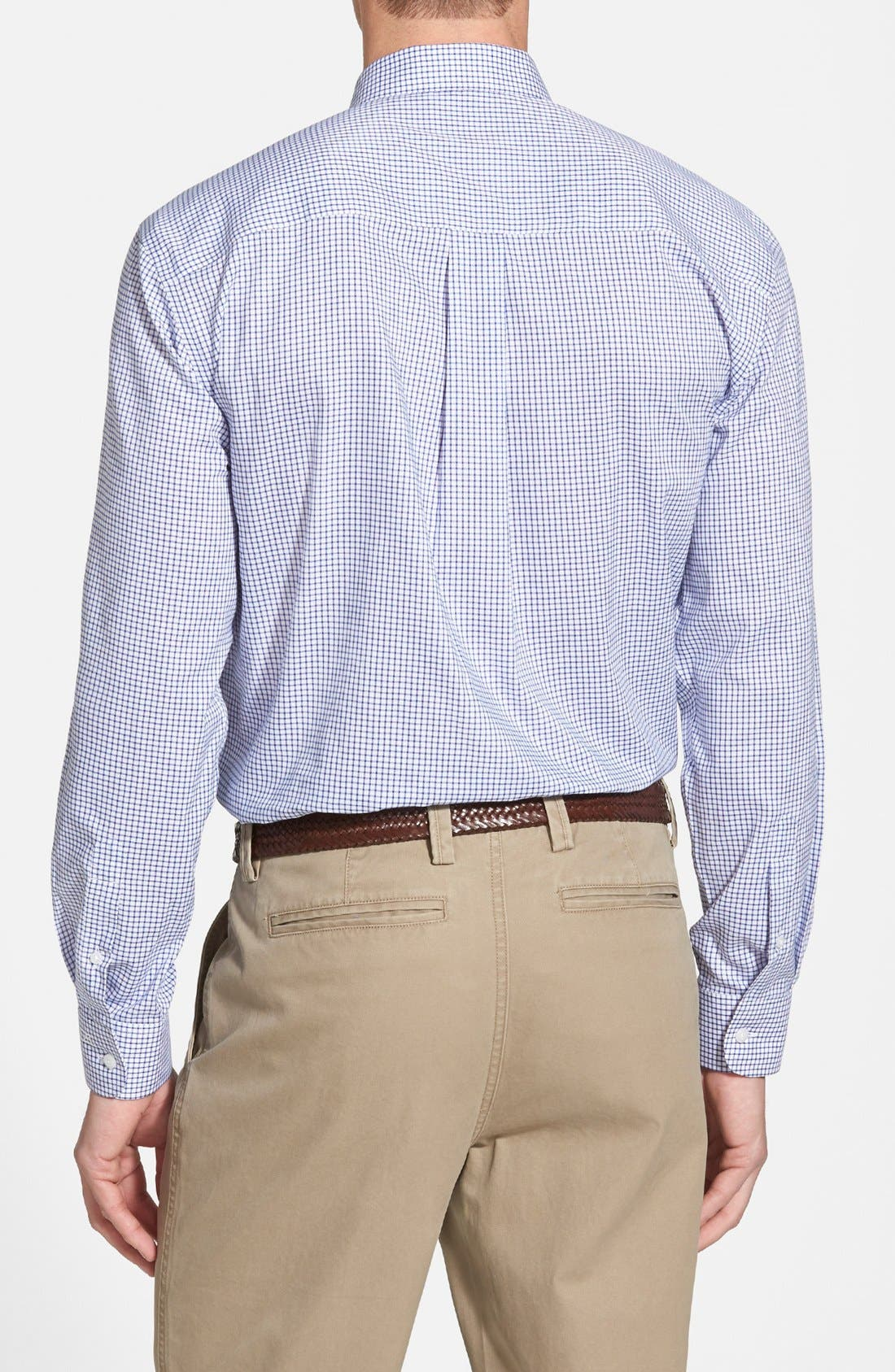 'Epic Easy Care' Classic Fit Wrinkle Free Tattersall Plaid Sport Shirt,                             Alternate thumbnail 3, color,                             French Blue