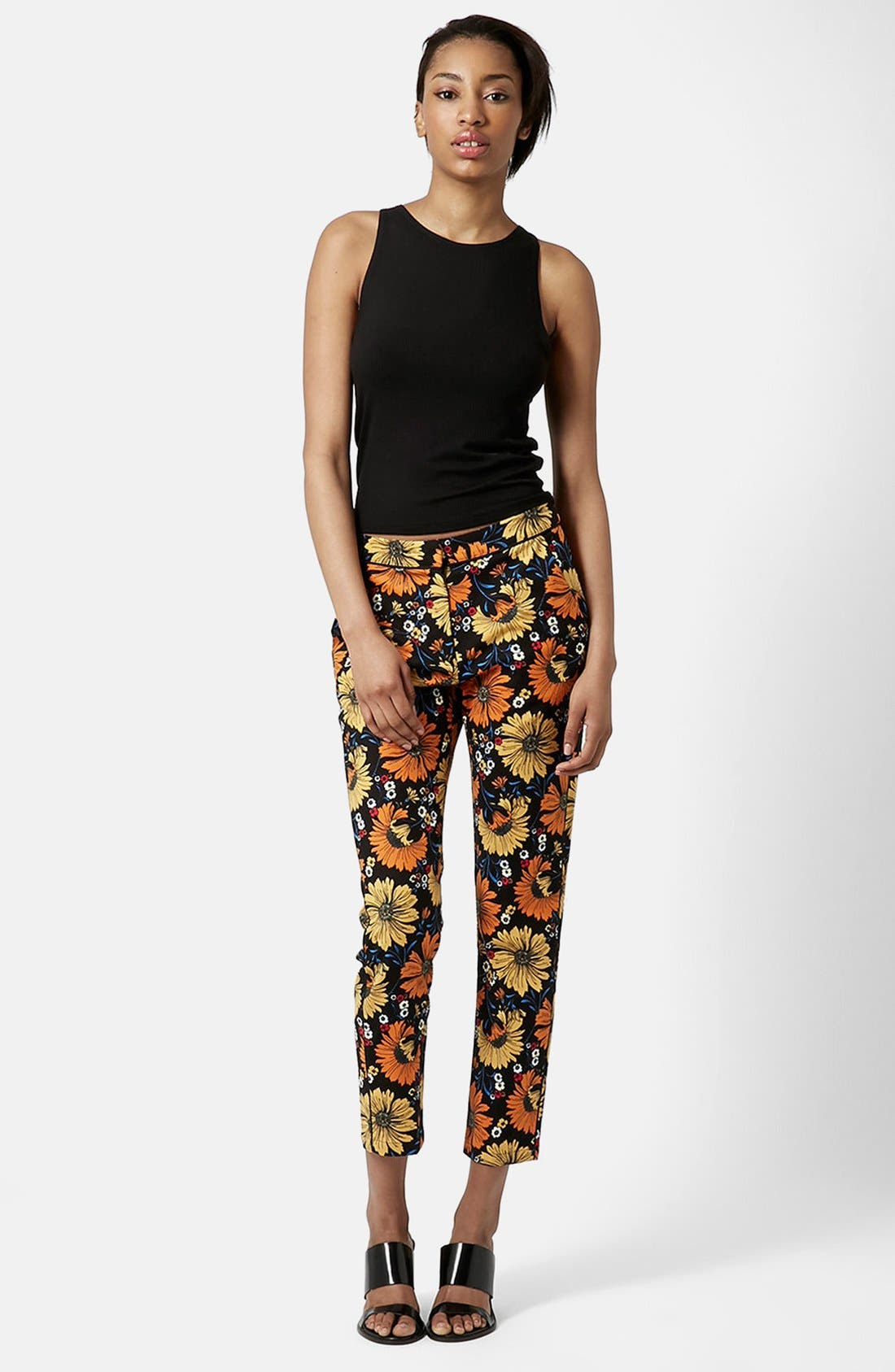 Alternate Image 5  - Topshop Daisy Print Cigarette Trousers