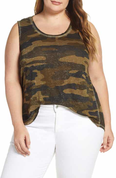 539bb9ba4e852 Lucky Brand Burnout Camo Tank (Plus Size)