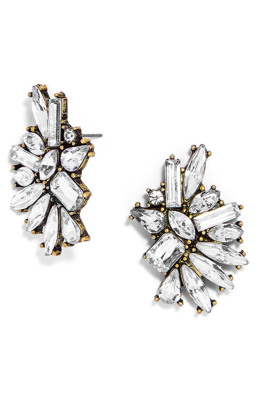 'Crystal Dolores' Statement Stud Earrings,                             Main thumbnail 1, color,                             Antique Gold/ Clear