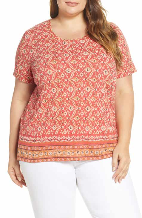 9b52f8c7d64189 Lucky Brand Floral Print Border Tee (Plus Size)