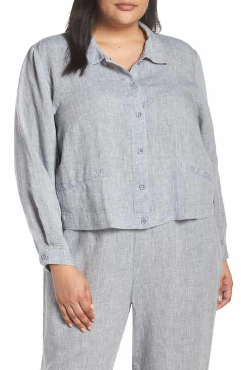 37d0806d772 Eileen Fisher Crop Organic Linen Jacket (Plus Size)