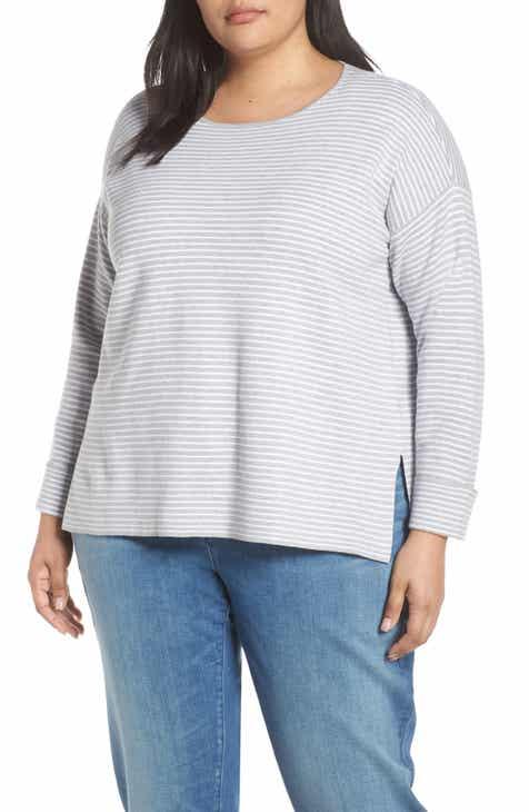 80bb81f512 Eileen Fisher Stripe Boxy Cotton   Silk Blend Sweater (Plus Size)