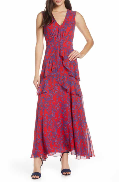 2320a894a68 Charles Henry Floral Tiered A-Line Maxi Dress (Regular   Petite)