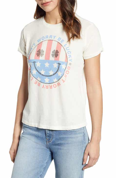 Lucky Brand Don't Worry Be Lucky Graphic Tee