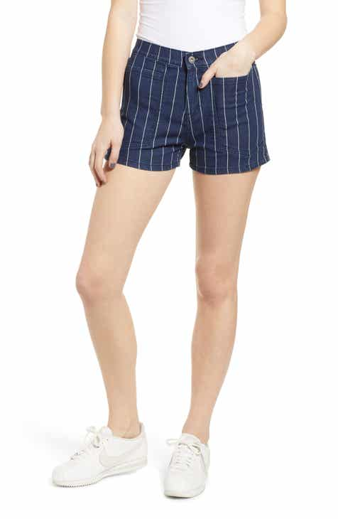 Unionbay High Waist Pinstripe Denim Shorts by UNIONBAY