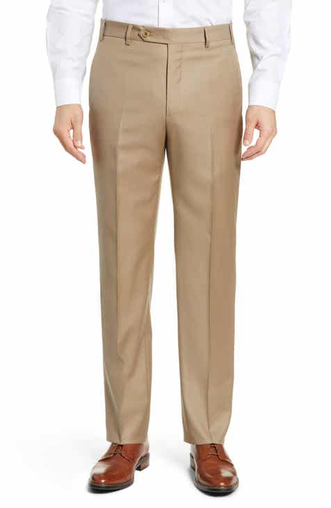 ed4049b76d0f45 Zanella Todd Relaxed Fit Flat Front Solid Wool Trousers