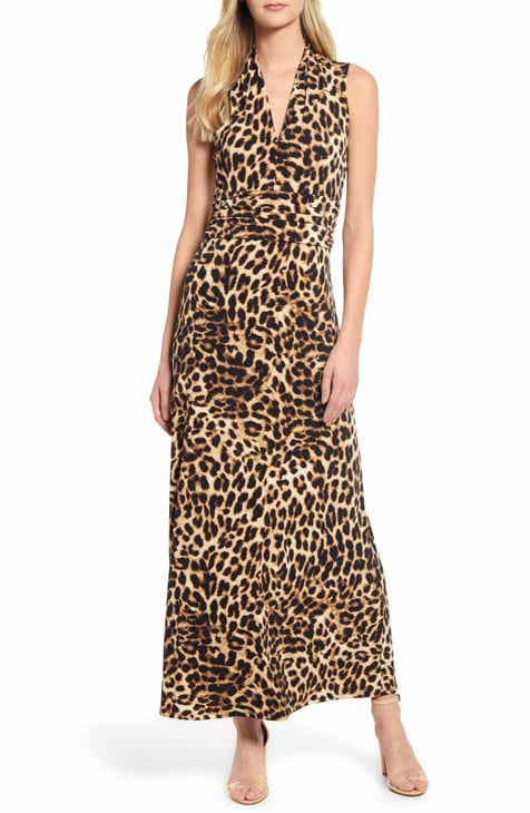 4e2ce4d43e Vince Camuto Exotic Animal Print Halter Neck Maxi Dress