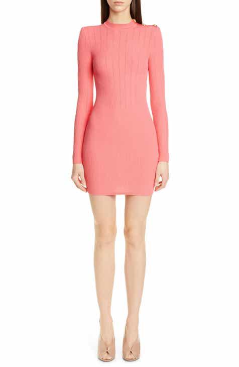Balmain Shoulder Detail Ribbed Sweater Dress efdcf525b95