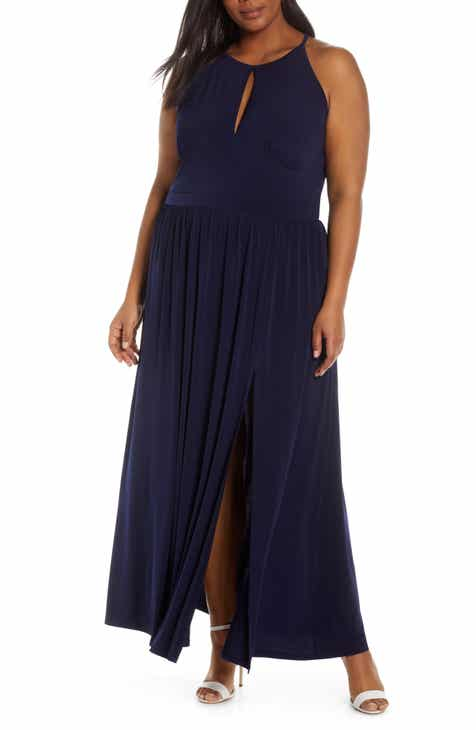 69df93a3261 MICHAEL Michael Kors Keyhole Detail Halter Top Maxi Dress (Plus Size)