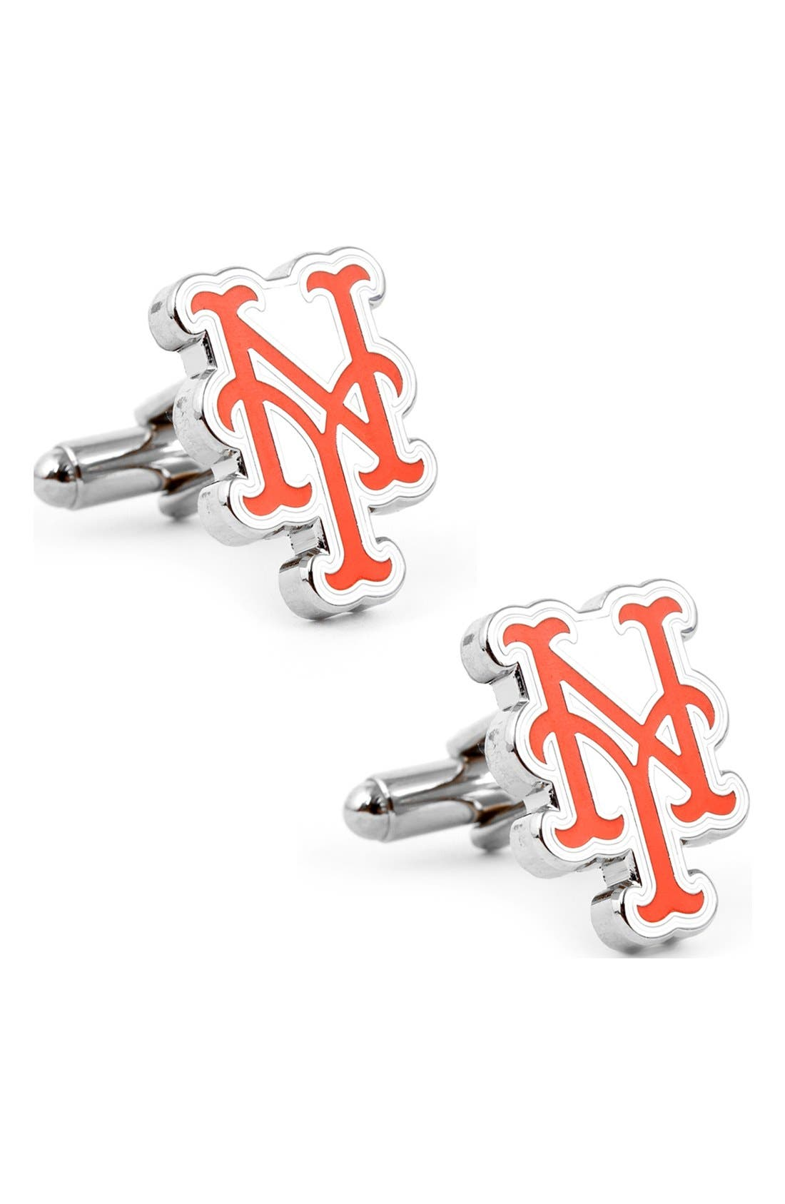'New York Mets' Cuff Links,                         Main,                         color, Silver