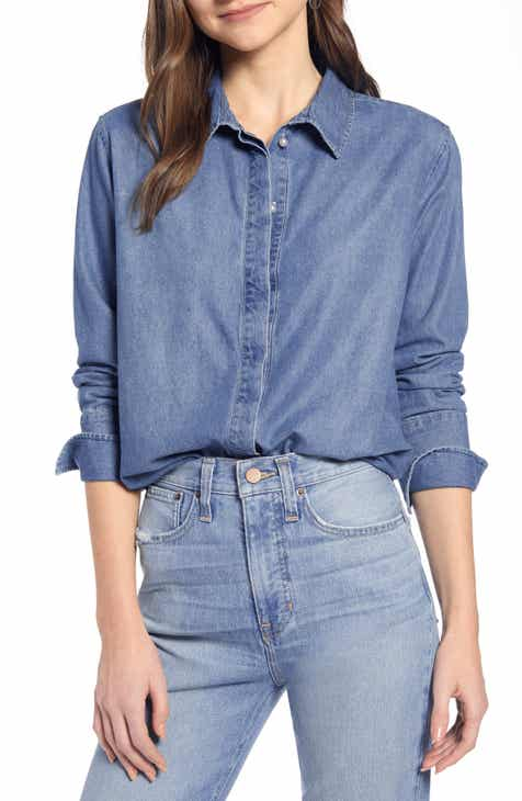 Something Navy Fem Chambray Button Up Shirt (Nordstrom Exclusive) by SOMETHING NAVY
