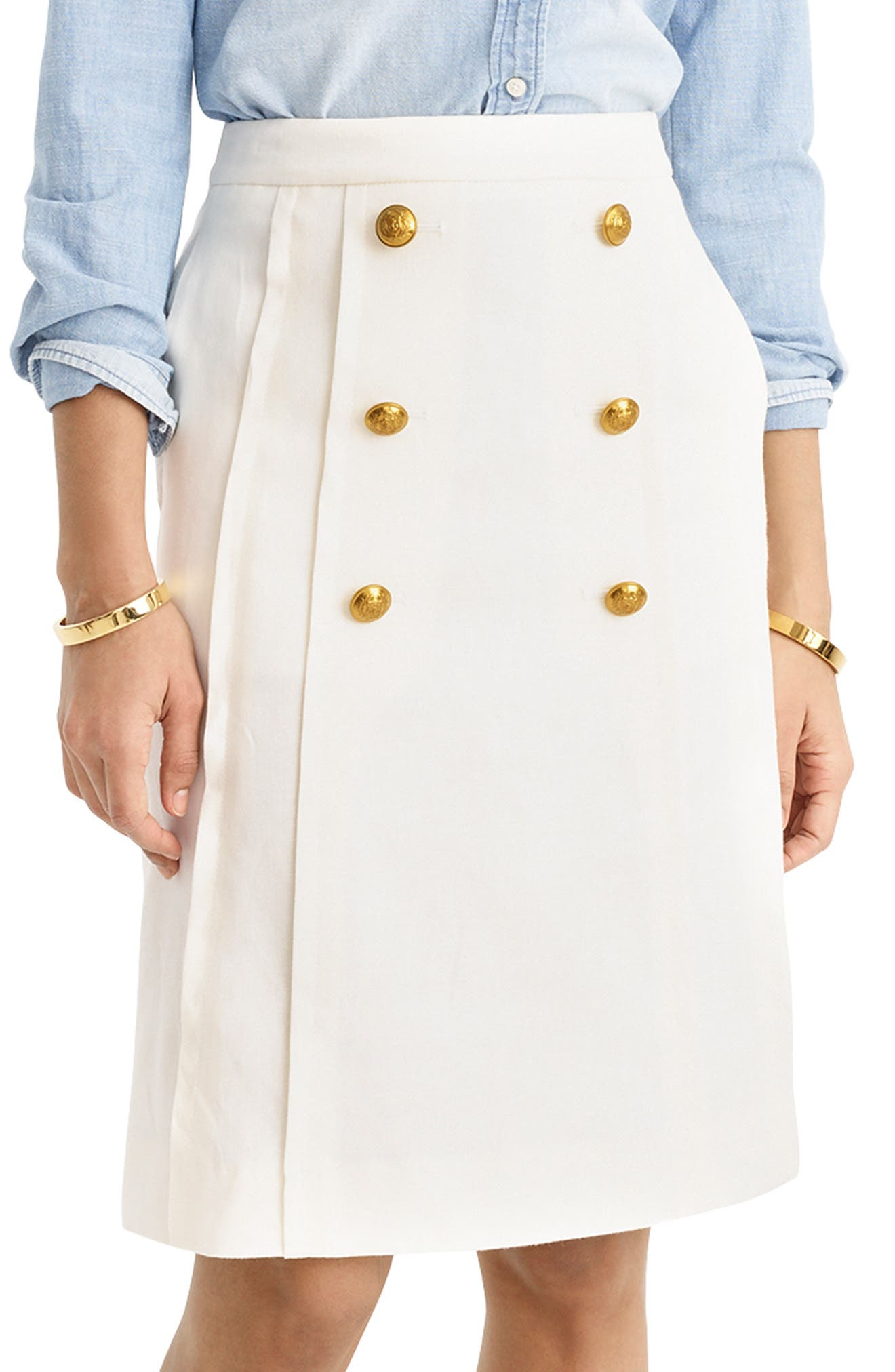J Crew Creme Button Up Skirt Size 00 Women's Clothing