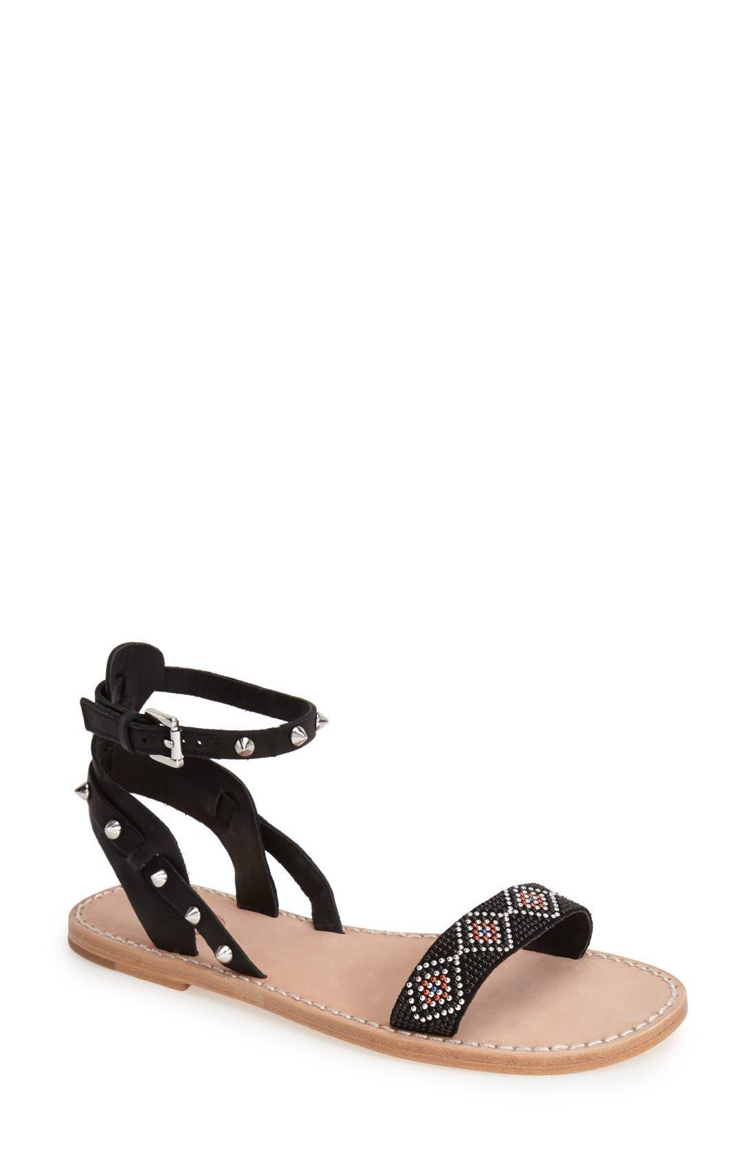 'Pearl' Studded Leather Sandal,                         Main,                         color, Black/ Black