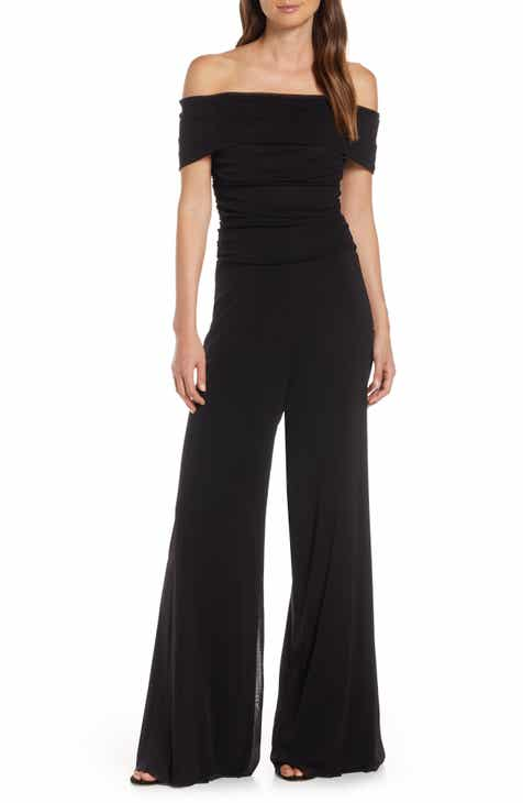 Find Eliza J Ruched Bodice Off The Shoulder Mesh Jumpsuit (Regular & Petite) Today Only Sale