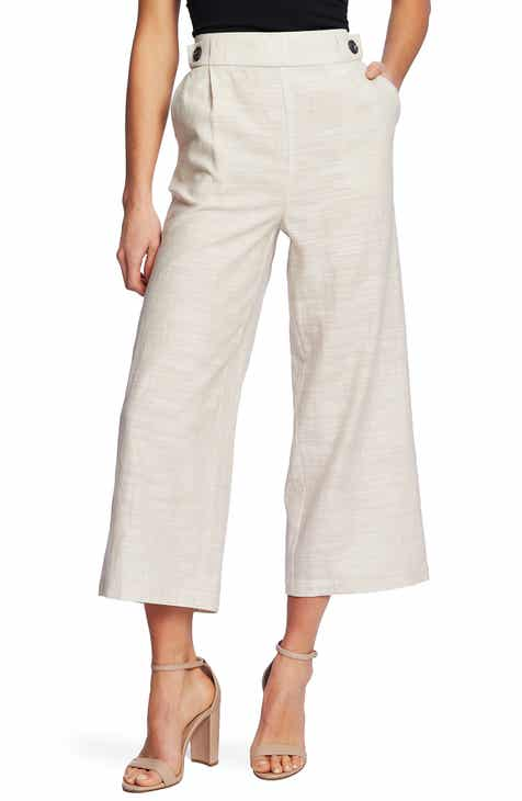 CeCe Button Detail Crop Wide Leg Pants by CECE